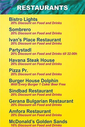 golden sands restaurants discounts